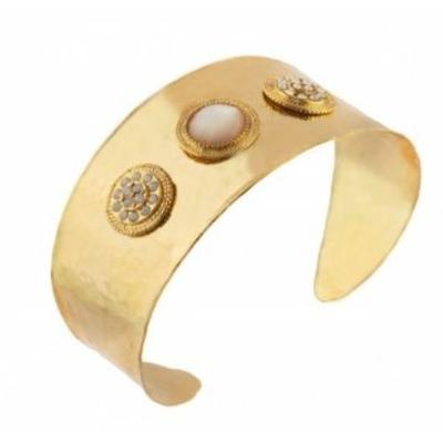 Bracelet manchette raffiné métal doré et nacre blanche I nacre Collection Tenerife, Satellite Paris