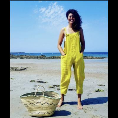 Salopette lin jaune - La belle Simone Bijoux
