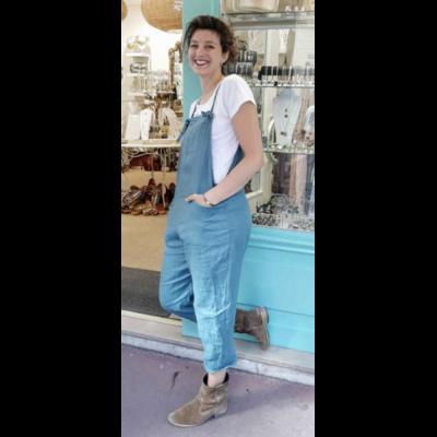 Salopette lin bleu lagon - La belle Simone Bijoux