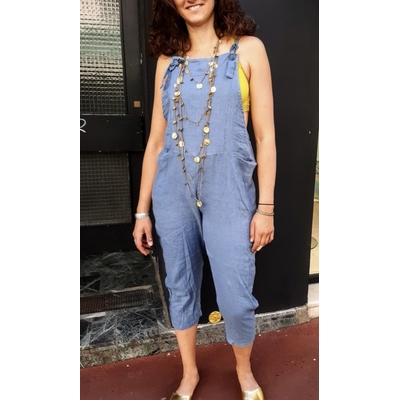 Salopette lin bleu jean - La belle Simone Bijoux