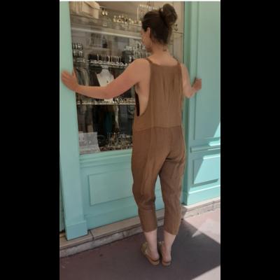 Salopette lin caramel - La belle Simone Bijoux
