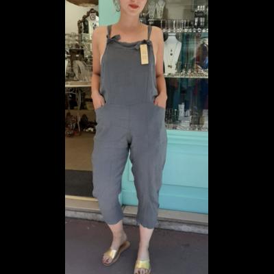 Salopette lin gris - La belle Simone Bijoux