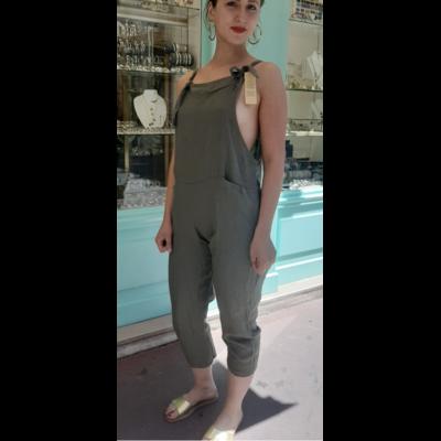 Salopette lin kaki - La belle Simone Bijoux