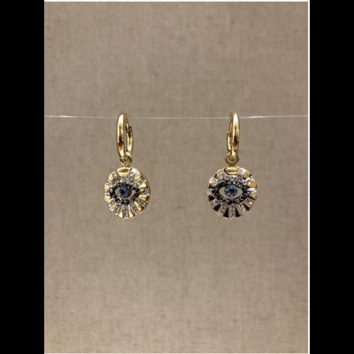 boucles d'oreilles créole yeux strass doré acier inoxydable - Mile Mila