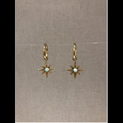 boucles d'oreilles créole constellation pierre aventurine doré acier inoxydable - Mile Mila