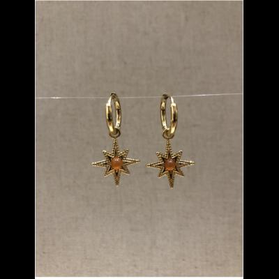 boucles d'oreilles créole constellation pierre cornaline doré acier inoxydable - Mile Mila