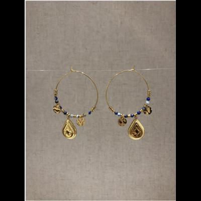 boucles d'oreilles créole goutte constellation bleu acier inoxydable doré - Mile Mila