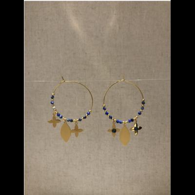 boucles d'oreilles créole fleur bleu acier inoxydable doré - Mile Mila