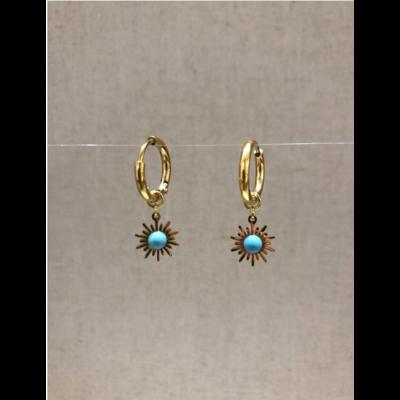 boucles d'oreilles créole soleil turquoise acier inoxydable doré - Mile Mila