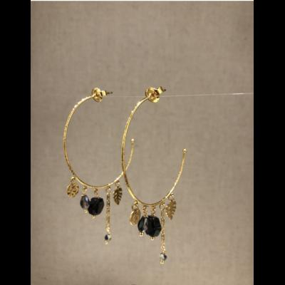 boucles d'oreilles créole noir acier inoxydable doré - Mile Mila