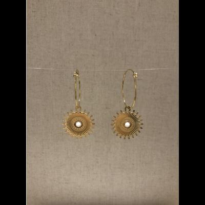 boucles d'oreilles créole soleil blanc acier inoxydable doré - Mile Mila
