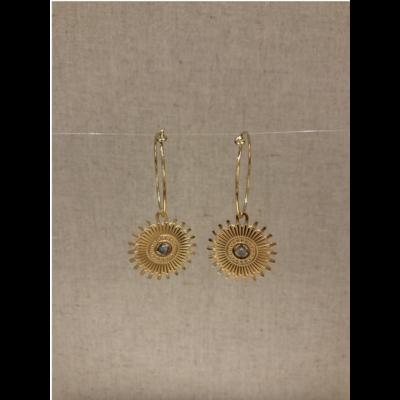 boucles d'oreilles créole soleil gris acier inoxydable doré - Mile Mila