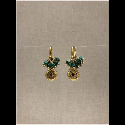 boucles d'oreilles créole constellation pierre malachite acier inoxydable doré - Mile Mila
