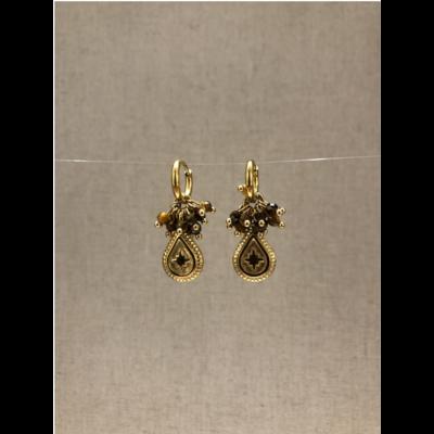 boucles d'oreilles créole constellation pierre oeil de tigre acier inoxydable doré - Mile Mila