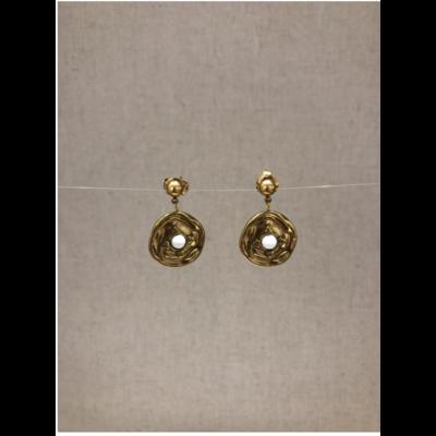 boucles d'oreilles clous cercle pierre howlite acier inoxydable doré - Mile Mila