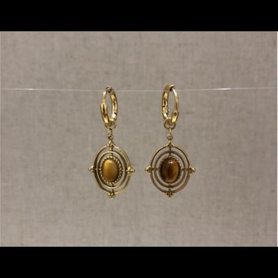 boucles d'oreilles créole pierre oeil de tigre acier inoxydable doré - Mile Mila