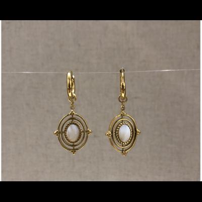 boucles d'oreilles créole pierre nacre acier inoxydable doré - Mile Mila