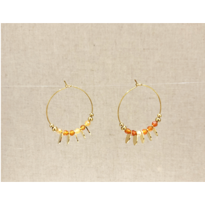 boucles d'oreilles créole pampille pierre cornaline inoxydable doré - Mile Mila