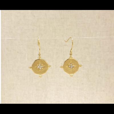boucles d'oreilles crochet constellation strass inoxydable doré - Mile Mila