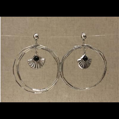 boucles d'oreilles clous coquillage acier inoxydable argent - Mile Mila