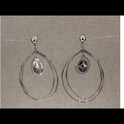 boucles d'oreilles clous constellation acier inoxydable argent - Mile Mila