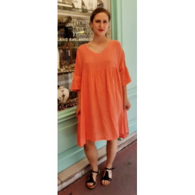 Robe corail 100% lin - La Belle Simone