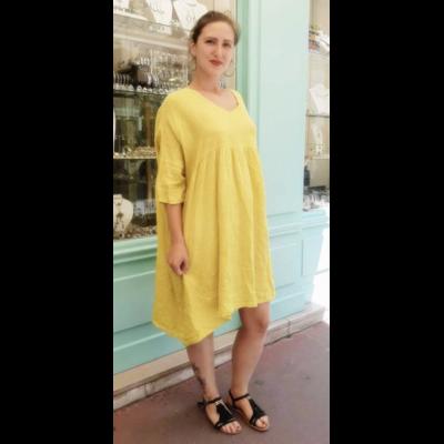 Robe jaune 100% lin - La Belle Simone