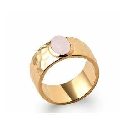Bague quartz rose martelée plaqué or 750 5 microns - La Belle Simone Bijoux