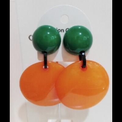 Boucles d'oreilles clips vert et orange - Marion Godart