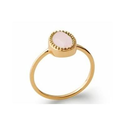 Bague quartz rose plaqué or 750 5 microns - La Belle Simone Bijoux