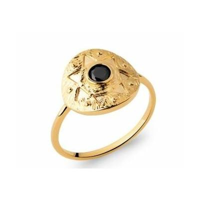 Bague étoile et zircons noirs plaqué or 750 5 microns - La Belle Simone Bijoux