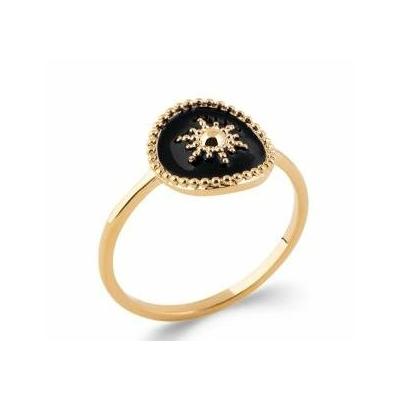 Bague soleil sur émail noir plaqué or 750 5 microns - La Belle Simone Bijoux