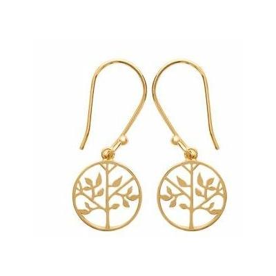 Boucles d'oreilles arbre de vie plaqué or 750 3 microns crochets - La Belle Simone Bijoux