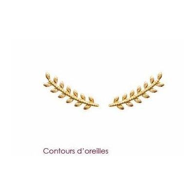 Boucles d'oreilles contours d'oreilles épis de blé plaqué or 750 3 microns - La Belle Simone Bijoux