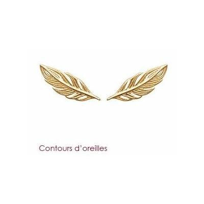 Boucles d'oreilles contours d'oreilles feuille plaqué or 750 3 microns - La Belle Simone Bijoux