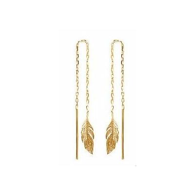 Boucles d'oreilles chaine feuille pendante plaqué or 750 3 microns - La Belle Simone Bijoux