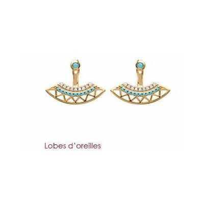 Boucles d'oreilles lobes d'oreilles incas plaqué or 750 3 microns - La Belle Simone Bijoux