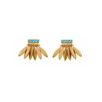 Boucles d'oreilles multi-feuilles plaqué or 750 3 microns clous - La Belle Simone Bijoux