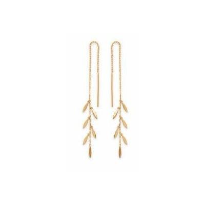 Boucles d'oreilles chaine pendante multi-feuilles plaqué or 750 3 microns - La Belle Simone Bijoux