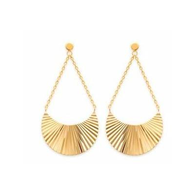 Boucles d'oreilles arc plissé et chaines plaqué or 750 3 microns clous - La Belle Simone Bijoux