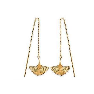 Boucles d'oreilles chaine ginkgo biloba pendante plaqué or 750 3 microns - La Belle Simone Bijoux