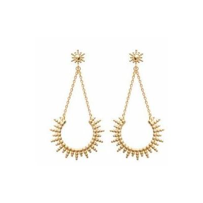 Boucles d'oreilles soleil et chaines plaqué or 750 3 microns clous - La Belle Simone Bijoux