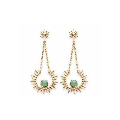 Boucles d'oreilles soleil aventurine et chaines plaqué or 750 3 microns clous - La Belle Simone Bijoux