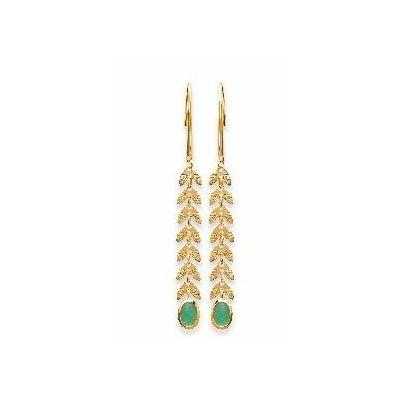 Boucles d'oreilles aventurine et épis de blé plaqué or 750 3 microns crochets ouverts - La Belle Simone Bijoux
