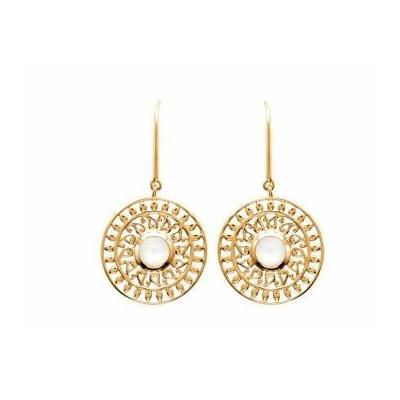Boucles d'oreilles rosace pierre de lune plaqué or 750 3 microns crochets - La Belle Simone Bijoux
