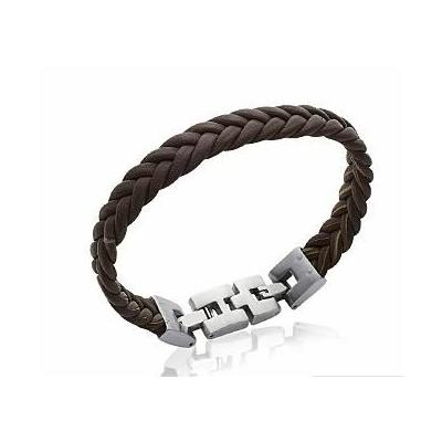 Bracelet tréssé cuir noir - La Belle Simone