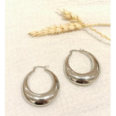 Boucles d'oreilles créoles ovale argenté - Mile Mila