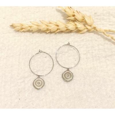 Boucles d'oreilles créoles rond soleil argenté - Mile Mila
