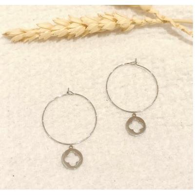 Boucles d'oreilles créoles fleur argenté - Mile Mila