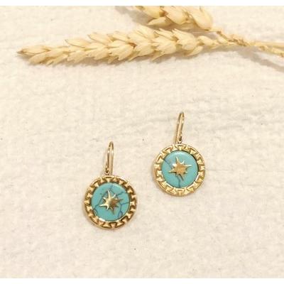 Boucles d'oreilles constellation bleu doré crochets - Mile Mila